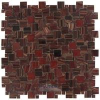 "HotGlass - Motif - 3/4"" X 3/4"", 3/8"" x 3/8"" Pattern Glass Mosaic in Egyptian Red Blend"