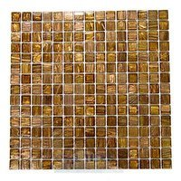 "HotGlass - Aventurine - 3/4"" Glass Tile in Madrone 12 7/8"" x 12 7/8"" Mesh Backed Sheet"