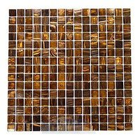 "HotGlass - Aventurine - 3/4"" Glass Tile in Rosewood 12 7/8"" x 12 7/8"" Mesh Backed Sheet"