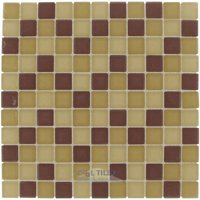 "Optimal Tile - Square Glass Tile - 1"" x 1"" Matte Glass Mosaic in Natural Blend Frosted"