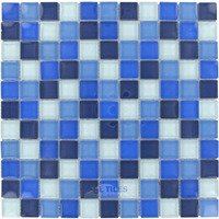 "Optimal Tile - Square Glass Tile - 1"" x 1"" Glossy Thick Glass Mosaic in Sea Blue Blend"