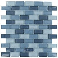 "Optimal Tile - Glass Stick Tile - 1"" x 1 7/8"" Glossy Glass Mosaic in Sky Blue Blend"