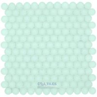 "Optimal Tile - Special Tiles - 1"" Frosted Circles Glass Mosaic in Snow"