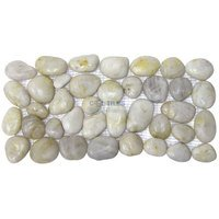 Spa Tile - Polished Pebble - Border Tile Mesh Backed Sheet in White Snowball