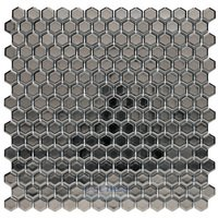 "Stellar Tile - Bits - 3/4"" Hexagon Porcelain Mosaic Tile in GENUINE Silver Plated"