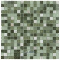 "Stellar Tile - Tessera - 5/8"" x 5/8"" Glass & Stone Mosaic Tile in Emerald Isle (Single Sheet)"