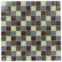 "Stellar Tile - Tessera - 1"" x 1"" Glass Mosaic Tile in Canopy"