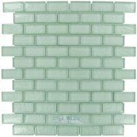 "Illusion Glass Tile - Mint - 7/8"" x 1 7/8"" Brick Glass Mosaic Tile in Mint"