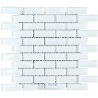 "Illusion Glass Tile - White - 7/8"" x 2 7/8"" Brickset Mosaic Tile in White"