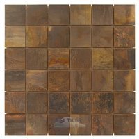 "Illusion Glass Tile - Metals - 2"" x 2"" Mosaic in Antique Copper"