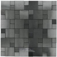 Illusion Glass Tile - Metals - 3D Versailles Mosaic in Brushed Gun Metal