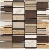 Illusion Glass Tile - Rock and Ice Tile - Glass and Stone Mosaic Tile in Parallel Champagne