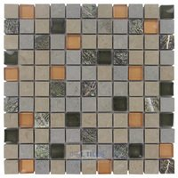 "Illusion Glass Tile - Stone and Glass - 1"" x 1"" Stone & Glass Mosaic Tile in Painted Forest"