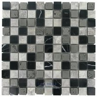 "Illusion Glass Tile - Silver Mine - 1"" x 1"" Stone Mosaic Tile in Silver Mine"