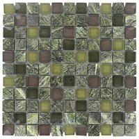 "Illusion Glass Tile - Stone and Glass - 1"" x 1"" Stone & Glass Mosaic Tile in Wild Forest"