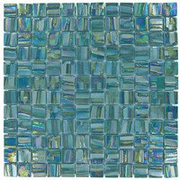 "Vidrepur - Moon - 1"" x 1"" Recycled Glass Tile on 12 3/8"" x 12 3/8"" Mesh Backed Sheet in Uranus"