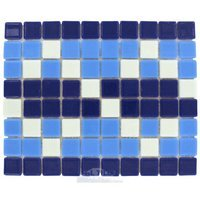 Vidrepur - Borders - Recycled Glass Tile Mesh Backed Sheet in Blue and White Border