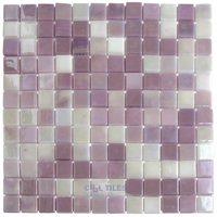 "Vidrepur - Lux - 1"" x 1"" Recycled Glass Tile on 12 3/8"" x 12 3/8"" Meshed Backed Sheet in Pink Passion"