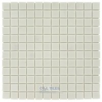 "Vidrepur - Essentials - 1"" x 1"" Recycled Glass Tile on 12 1/2"" x 12 1/2"" Meshed Backed Sheet in Chalk"