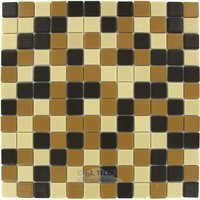 "Vidrepur - Special - 1"" x 1"" Recycled Glass Tile on 12 1/2"" x 12 1/2"" Mesh Backed Sheet in Beach Mix"