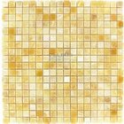 "Clear View - 5/8"" Small Mosaic Tile Honey Onyx Polished 12"" x 12"" Mesh Backed Sheet"
