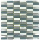 "Diamond Tech Glass Tiles - Impact -5/8"" x 1 7/8"" Stacked Glass and Metal Mosaic Tile in Storm Metal"
