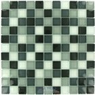 "Distinctive Glass Tile - Color Block - 1"" Color Block Grayscale 12"" x 12"" Mesh Backed Sheet"