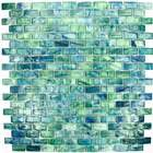 "HotGlass - Bohemia - 1 3/16"" x 9/16"" Glass Tile in Mallard 12 7/8"" x 12 7/8"" Paper Faced Sheets"