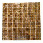"HotGlass - Aventurine 3/4"" Glass Tile in Madrone 12 7/8"" x 12 7/8"" Mesh Backed Sheet"