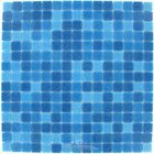 "HotGlass - Classic CartGlass Blended 3/4"" Glass Tile in Deep Blue Blend 12 7/8"" x 12 7/8"" Mesh Backed Sheet"