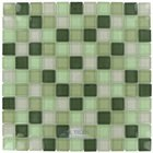 "Optimal Tile - 1"" x 1"" Glossy Thick Glass Mosaic in Sage Green Blend"