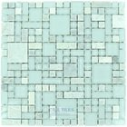 Optimal Tile - Versailles Tile - Versailles Glass and Ming Green Stone Mosaic in Ice