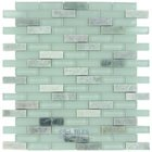 "Stellar Tile - Tessera - 5/8"" x 2"" Glass & Stone Mosaic Tile in Ming Green and Glass"