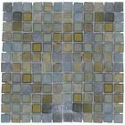 "Illusion Glass Tile - Desert Mirage - 1"" x 1"" Glass Mosaic Tile in Sapphire Buds"