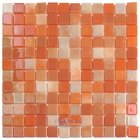 "Mosaic Glass Tile by Vidrepur - Lux Collection 1"" x 1"" Recycled Glass Tile on 12 3/8"" x 12 3/8"" Meshed Backed Sheet in Tangerine"