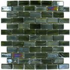 Mosaic Glass Tile by Vidrepur Glass Mosaic Bricks Collection Recycled Glass Tile Mesh Backed Sheet in Brushed Black / Yellow Iridescent