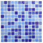 Mosaic Glass Tile by Vidrepur Glass Mosaic Mixes Collection Recycled Glass Tile Mesh Backed Sheet in Fog Sky Blue / Fog Navy Blue