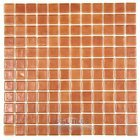 Mosaic Glass Tile by Vidrepur Glass Mosaic Deco Collection Recycled Glass Tile Mesh Backed Sheet in Pearl Bronze