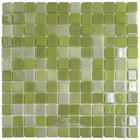 "Mosaic Glass Tile by Vidrepur - Lux Collection 1"" x 1"" Recycled Glass Tile on 12 3/8"" x 12 3/8"" Meshed Backed Sheet in Lemon Lime"