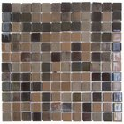 "Mosaic Glass Tile by Vidrepur - Lux Collection 1"" x 1"" Recycled Glass Tile on 12 3/8"" x 12 3/8"" Meshed Backed Sheet in Maple Syrup"