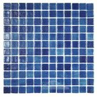 Mosaic Glass Tile by Vidrepur Glass Mosaic Anti-slip Collection Recycled Glass Tile Mesh Backed Sheet in Fog Navy Blue Slip-Resistant